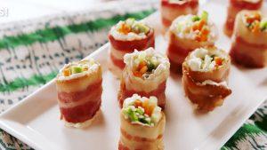 Bacon Sushi Keto -garnish sesame seads