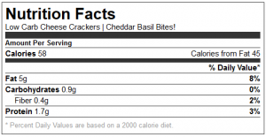 Cheese Cracker Low Carb Nutrition Facts 1