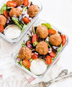 Easy Turkey Meatballs Keto partner with salad