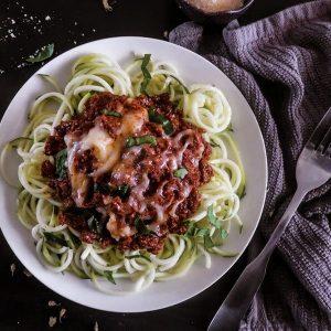Keto Zucchini Bolognese Spaghetti