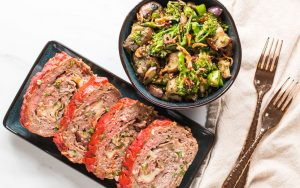 Meatloaf Keto Low Carb with Side Veggies