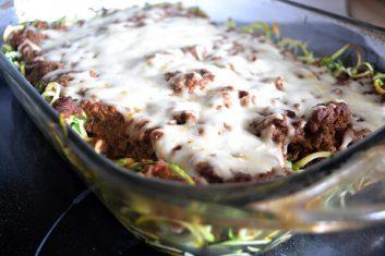 cooked Keto Zucchini Bolognese Spaghetti