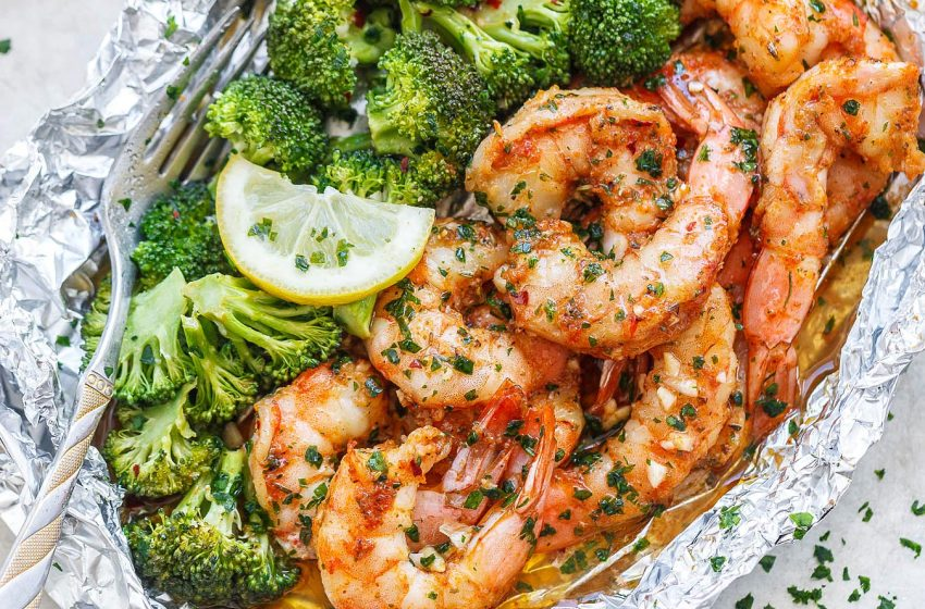 Baked Shrimp Broccoli with Garlic Lemon Butter