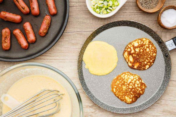 High Protein Keto Pancakes Sausage Wraps cooking process scaled