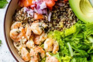 Lemon Chili Shrimp Quinoa Bowls