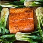 Teriyaki Salmon Topped with Bok Choy