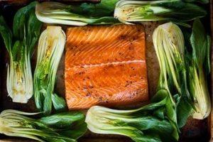 Teriyaki Salmon Topped with Bok Choy