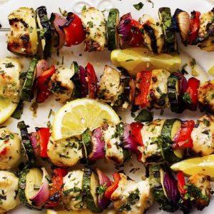 The Herbed Lemon Garlic Chicken Skewers