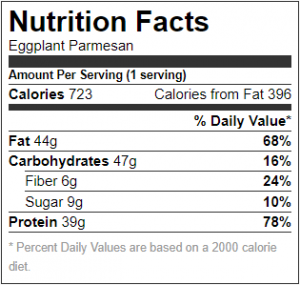 Eggplant Parmesan Nutrition Facts