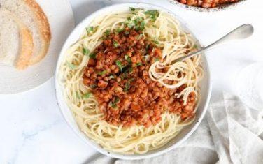 Vegan Spaghetti Lentil Bolognese Recipe