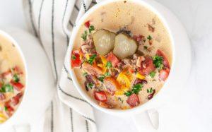 Bacon Cheeseburger Keto Soup